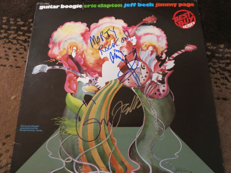JIMMY PAGE JEFF BECK ERIC CLAPTON SIGNED LP BY 3! ROGER EPPERSON COA ZEPPELIN