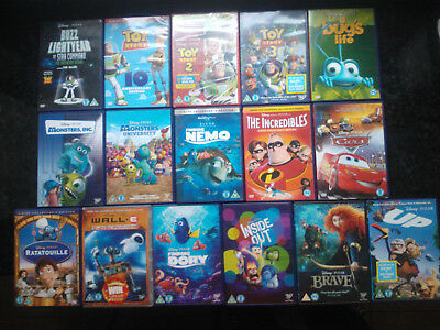 Disney Pixar DVD Bundle Toy Story 1 2 3 UP CARS INSIDE OUT BRAVE WALLE BUGS LIFE ()