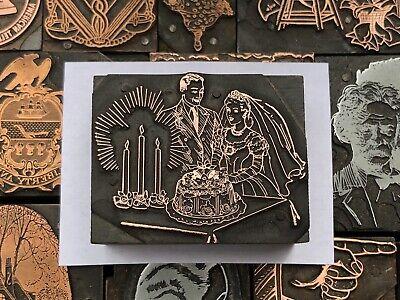 Antique Vtg Bride Groom Wedding Cake Letterpress Print Type Cut Ornament Block