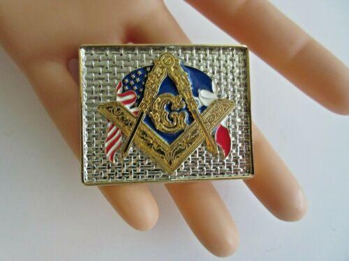 """Enameled 2-Tone Freemasons Masonic Belt Buckle """"In Memory of Grand Master 1997"""""""