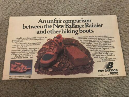 Vintage NEW BALANCE RAINER Hiking Boots Poster Print Ad 1980s RARE