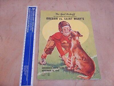 ORIGINAL 1949 OREGON VS SAINT MARY'S COLLEGE FOOTBALL PROGRAM