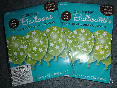 12 DESIGNER HELIUM QUALITY LATEX BALLOONS BY AMSCAN GREEN