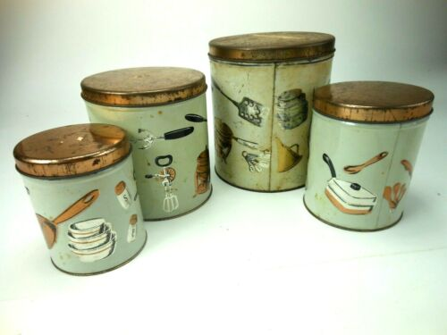 1950s Weibro Tin Canister Set 4 Decorative Kitchen Cans Mid Century Utensil moti