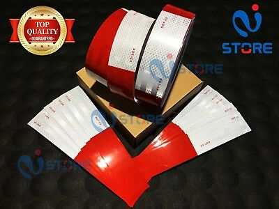 6 Strips Dot-c2 Reflective Tape 6 Red 6 White Safety Warning Truck Trailer