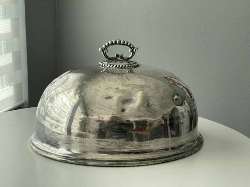 Antique Victorian MAPPIN & WEBB Silverplate MEAT DOME Large 16 Inches AS IS