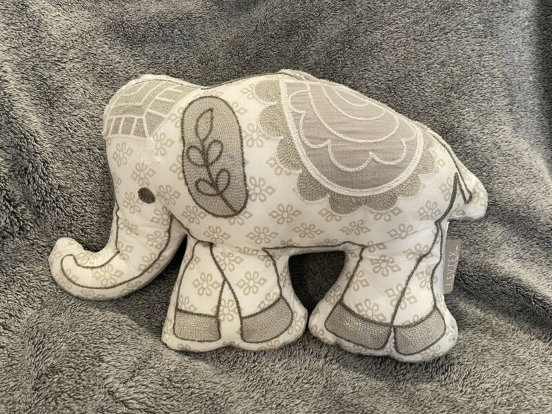 BABY ELY ELEPHANT PILLOW by LEVTEX BABY White Gray Embroidered Details EUC