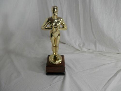 Gold Plated Metal Faux Oscar Trophy On Square Walnut / Black Pedestal Base