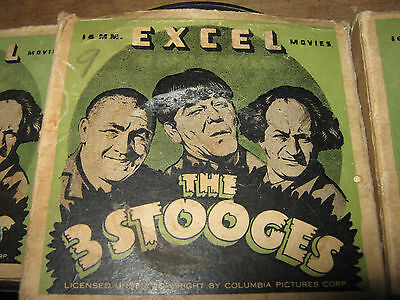 3x LOT 16mm FILM   THREE STOOGES  SILENT COMEDY MOVIES from 1940s