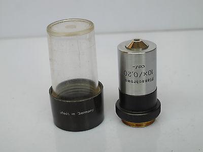 Zeiss Jena Planachromat Microscope 0.20 10x Objective Lens Case
