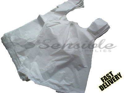 300 X STRONG WHITE PLASTIC VEST CARRIER BAGS 11X17X21