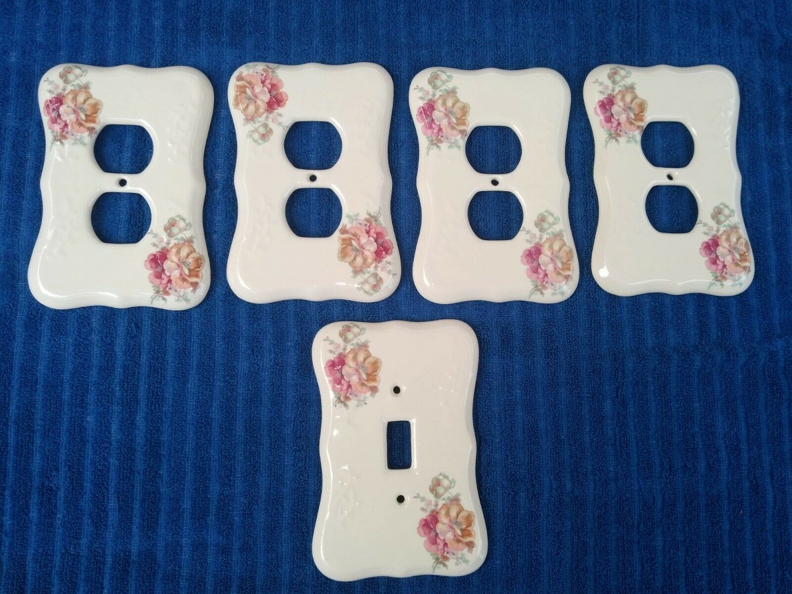 5 Vintage Ceramic Painted Flowers Athena USA Wall Switch Plates Outlet Cover Set - $34.00