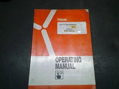 Mazak Operating Manual Mac-gl Multiplex 1991 Cnc Mill Lath Ms-249