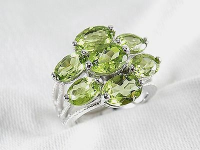 (Genuine Peridot 7 Stone 4.93ct Ring 925 Sterling Silver Size 8 )