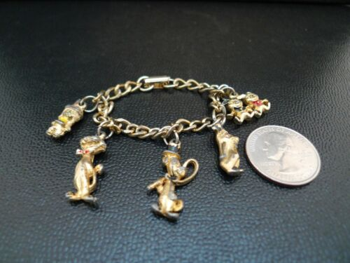 Vintage 1959 HUCKLEBERRY HOUND & FRIENDS CHARM Bracelet Hanna Barbera USED !!!