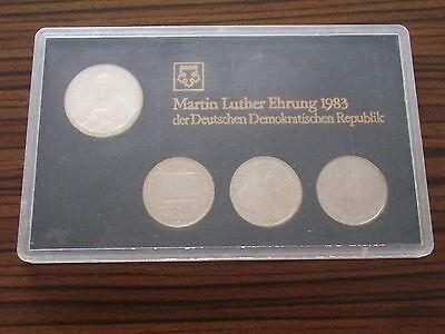 DDR 1983 Martin Luther Themensatz 3x 5 1x 20 Mark Silber Gedenkmünze KMS ST RAR!
