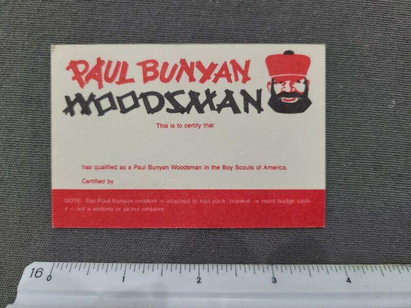 Boy Scouts of America Paul Bunyan Woodsman Award Certification Card Unused