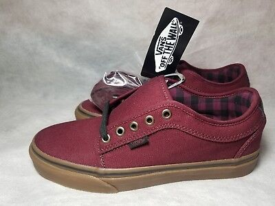 New Vans Chukka Low Pro Men Size 7 Canvas Plaid Leather Red Black Gum Skate