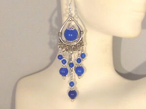 Gemstone Earrings - Blue Sapphire with 925 Sterling Silver - long chandeliers