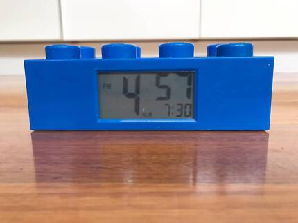 Blue Lego alarm clock