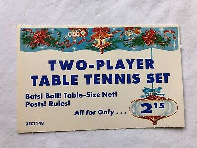 Vintage STORE SIGN PRICE CARD Two-Player Table Tennis Set Christmas Ornament #8