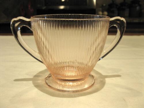 Vintage Jeannette Glass Depression Pink Homespun Sugar Bowl