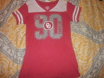 Girls Ncaa Ou Oklahoma University Shirt Nwot Size L 10 12 Maroon White  B6