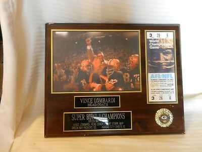 Green Bay Packers Vince Lombardi Super Bowl I Champions NFL Photo Plaque on Wood
