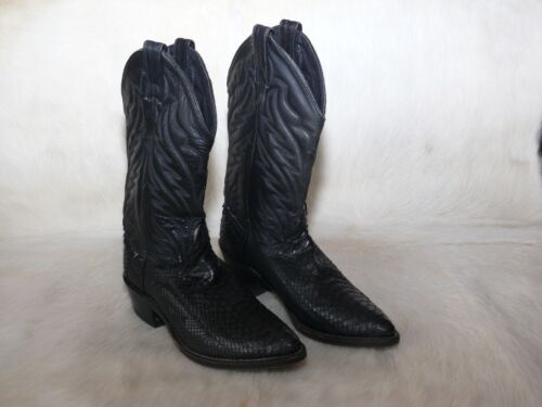 Abilene, Cowboy, Western, Black, Boots, Snakeskin, Snake, Used, Mens, 7, D, USA, Leather,