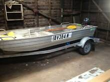 CLARK PUNT WITH 2008 YAMAHA 9.9HP 4 STROKE w. TRAILER Wollongbar Ballina Area Preview