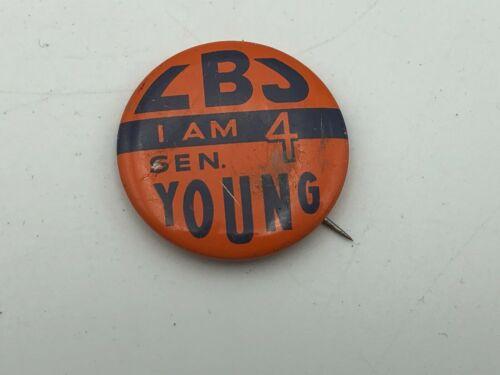 """1964 LBJ President Senator Young Ohio I AM 4 Campaign Button 1-1/8"""" Pinback Q5"""