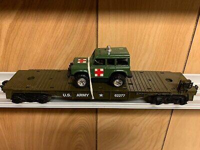 ✅KMT W/ LIONEL TRUCKS US ARMY FLAT CAR & MEDICAL JEEP! O GAUGE TRAIN MILITARY