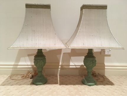 Two table lamps silk shade green ceramic pottery french style