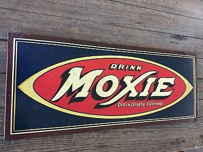 Original Tin Moxie Sign Wow Drink Moxie Distinctively Different