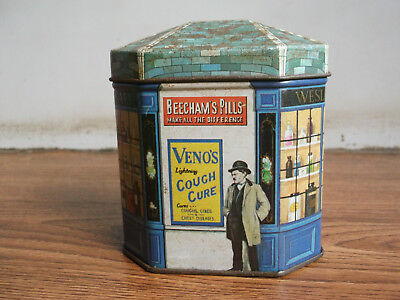 Old vintage Medicine advertising confectionery tin box of 80's, made in England.