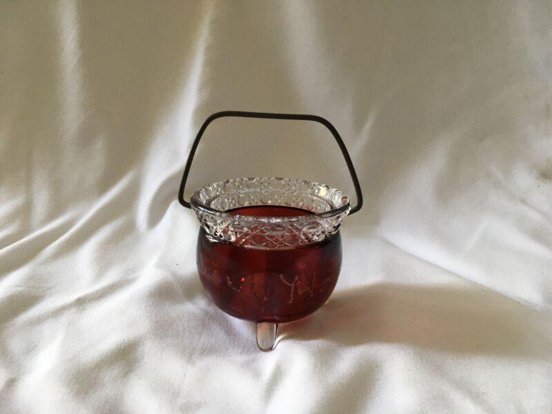 Ruby Red Flash Glass Small Cauldron