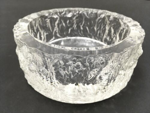 Whitefriars Clear Glass Bark Ashtray Geoffrey Baxter Mid Century Art Ice Bowl