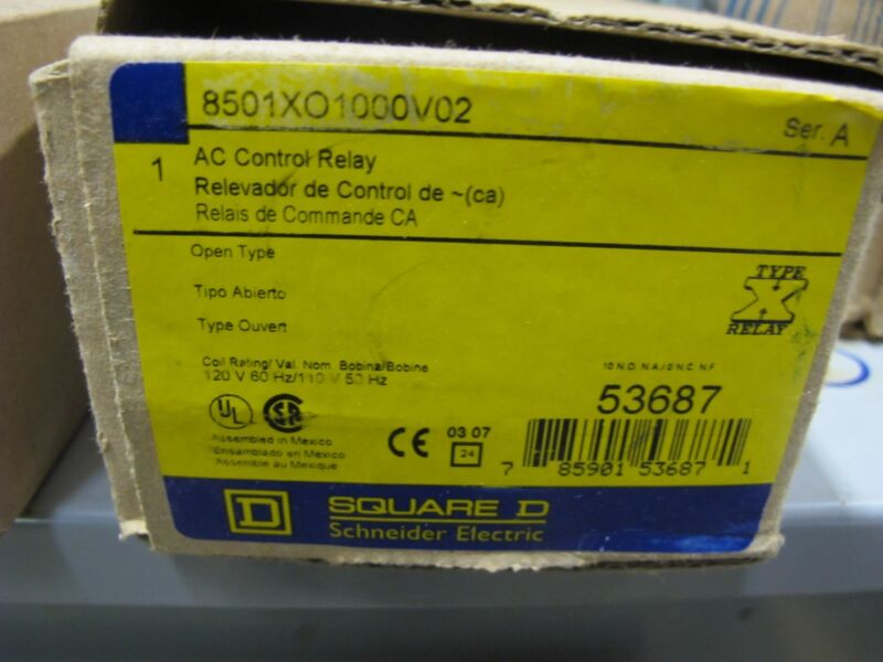 Square D 8501XO1000V02 AC Control Relay NEW