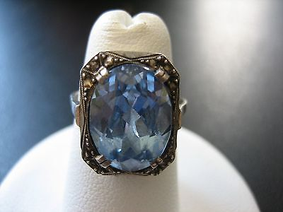 Stunning Vintage Sterling Silver Aquamarine Art Deco Style Ring 4.1 Gr Size 6