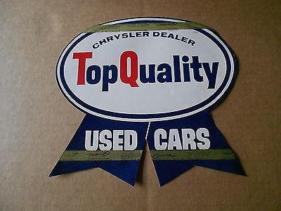 Vintage Chrysler Dealer Top Quality Used Cars Window Sticker Flyer NOS