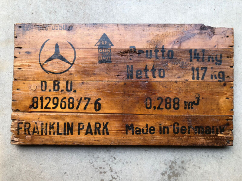 ORIGINAL Vintage Mercedes Benz Auto Shipping Crate Sign - Box Advertising - WOW