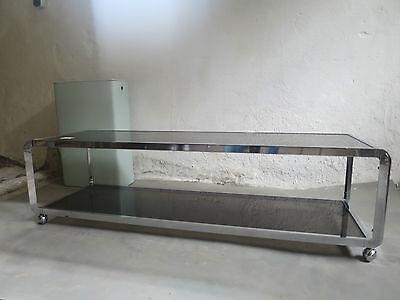 Rauchglas Wohnzimmertisch Tisch 60er 70er Chrom Couchtisch Spiegelglas PARSOL