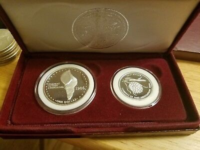 Triton Shell (1986 Marshall Islands Triton shell $1 & 50¢ - 2 Coin Silver Proof )