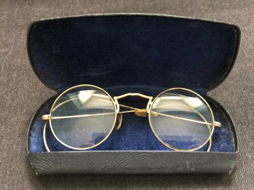 Vintage Antique BIFOCAL EYEGLASSES Case GOLD 1/10 12KT WIRE RIM Iron Cross Ornat