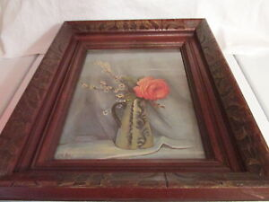 BEAUTIFUL OAK FRAME STAINED WALNUT BEAUTIFUL ROSE HAND CARVED PIC SIZE IS 9