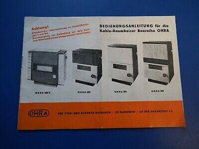DDR Werbeprospekt Heft Bedienungsanleitung Kohle Raumheizer Baureihe OHRA gebr. online kaufen