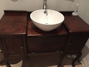Antique vanity with bowl sink