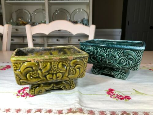 Vintage American Bisque Green Ceramic Pedestal Planters, Bow Design, Set of 2