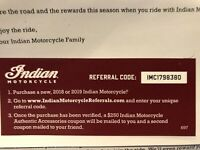 $250 Indian Motorcycle Accessories - Free with new bike purchase