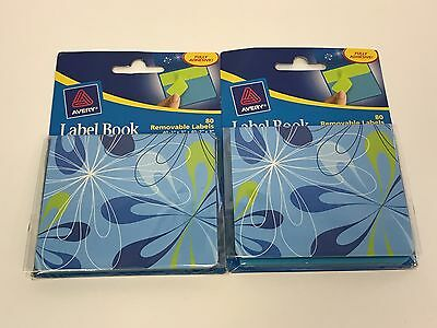 2 Lot Avery Label Book 80 Removable Labels 40 1 X 3 40 2 X 3 22043